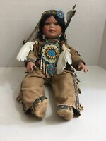 """Timeless Ltd Collection Porcelain Native American Indian Girl Doll 20"""" Sitting"""