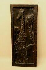 Tableau sculpté bas relief Girafe art ethnique africain 17,5 x 42 cm