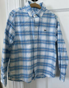 Vineyard Vines Boys Plaid Button-Down 'Whale Shirt' Blue, White, Pink, Size: 5