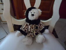 """J.A.C. off white bear wearing leopard print coat and matching hat 10"""""""