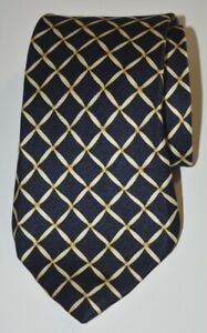 Bvlgari Signed David Pizzigoni Blue Gold Geometric Fold 7-Fold Silk Tie