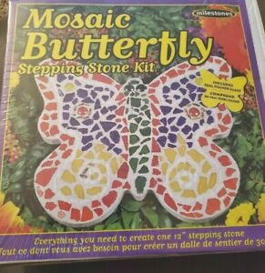 NEW/Sealed Box Multi Color Mosaic Stepping Stone Butterfly Kit by Milestones