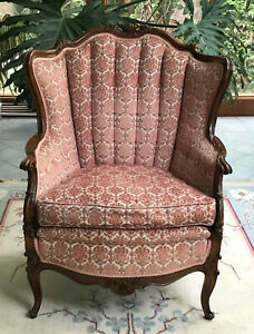 Antique Louis XV Style Mahogany Cut-Velvet Bergere Chair, Appraised $1350 in '78