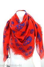 ALEXANDER McQUEEN clásico rojo y azul de cráneo Pashmina Bufanda colores audaces BNWT