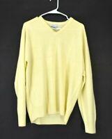 Geoffrey Beene Men's Medium Long Sleeve V-Neck Acrylic Yellow Sweater
