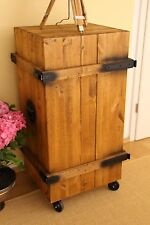 Drinks Cabinet Shabby Chic Cargo Box Vintage CHEST TRANSPORT BOX WARDROBE Brown