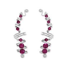 Ear Wraps Cuffs Climbers Earrings Silver with Swarovski Fuchsia Crystals 121-C21
