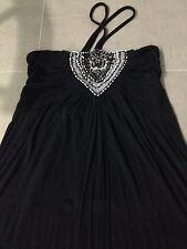 Stunning Black Maxi Dress - Halter Neck Tie - Size 8/10 - Rayon
