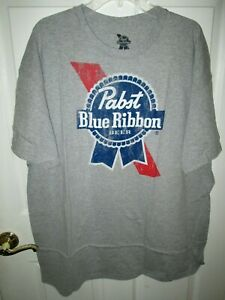NWT PABST BLUE RIBBON BEER GRAY DISTRESSED COTTON BLEND GRAPHIC T-SHIRT XL