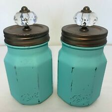 Two BALL Mason Glass Jars Painted Turquoise Blue Clear Knobs & Lids Rustic Decor