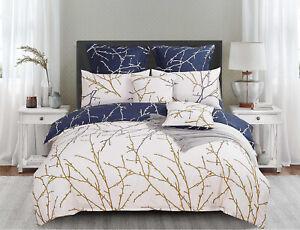TREE Reversible Blue&Beige Duvet/Doona/Quilt Cover Set Queen/King/Super Size Bed