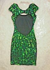 SEQUIN DRESS COCKTAIL BACKLESS GREEN IRIDESCENT BOHO LUX COACHELLA BODYCON XS 0