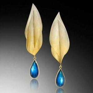 Fashion Jewelry Blue Sapphire Ear Stud Hook Dangle Yellow Gold Feather Earrings