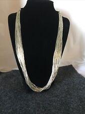 """Vtg Liquid Silver 30 Strands Heishi beads 24"""" Sunburst mark 925 Sterling 1980s"""