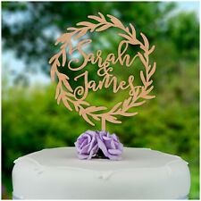 PERSONALISED Rustic Wooden Wreath Wedding Engagement Cake Topper ANY Two Names