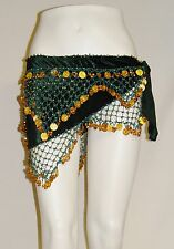 Hunter Green Velvet Half Circle Belly Dance Hip Scarf with Gold Beads and Coins