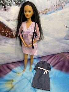 RARE 2002 PREGNANT AA MIDGE NO MAGNETIC BELLY DENIM MATERNITY DRESS MATTEL