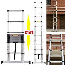 12.5FT Fully Automatic Telescopic Extension Ladder Aluminium Multi Purpose EN131