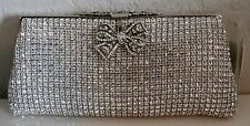 Crystal Beaded Bow Accent Evening Clutch Handbag Purse - Silver - New!