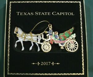 2017 TEXAS STATE CAPITOL Horse & Carriage Christmas Ornament Mint