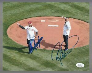 Barry Larkin & Dave Concepcion REDS Signed Auto Color 8 X 10 Photo - JSA WPP
