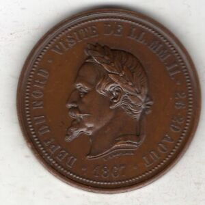 1867 French Napoleon III Medal for Chamber of Commerce Lille by Chaplain, Borrel