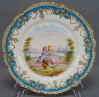 Old Paris Sevres Style Hand Painted Courting Couple Celeste Blue & Gold Plate B