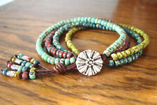 Turquoise Red Blue Green Picasso Handmade 4 Strand Beaded Leather Wrap Bracelet