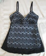 NWT A. Byer Crochet Lace Lined Cami Blouse Size Small Black/White Tie Sash N-3
