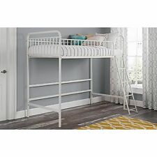 Kids Junior Loft Bed White Twin Frame For Girls Teen Children Metal Stair Ladder