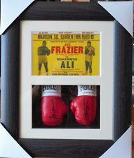 Ali Vs Frazier Mini Signed Boxing Gloves Framed