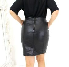 Real Black Leather Supple Buttery Fetish High Waist Wiggle Pencil Skirt 12