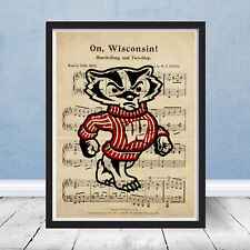 University of Wisconsin Badgers Football Logo Fight Song Sheet Music Gift Art