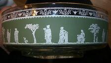 "Jeannette Glass BOWL 9"" D  Wedgwood Pattern  Greek Roman Green White Gold trim"