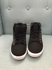 Gap Kid's Black White High Top Casual Solid Basic Sneakers Shoes Size 4