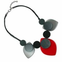 Statement Fashion Jewellery: Black Cord Necklace with Large Red and Black Acr...