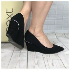 Leather Collection By NEXT Suede Black Pointed Wedge Shoes Size 5.5 UK