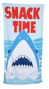 "SHARK SNACK TIME - Big Splash Beach Pool Towel 60""x30"" - Bright Colorful"