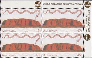 1993 Australia Last Uluru Rainbow Serpent 4x45c Stamps POLSKA 93 Ovpt Mini-Sheet