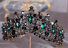 Women Lady Retro Green Crystal Black Queen Party Hair Head Headband Crown Tiara