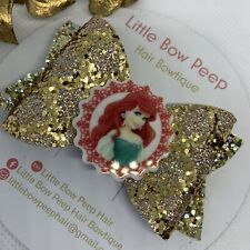 "🎀3"" Stunning Glitter Hair Bow- Ariel From The Little Mermaid 🎀"