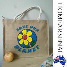 New JuteShopping Bags Floral Reusable Shopping Shoulder Bags Eco Friendly AU