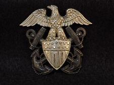 WWII USN Navy Sterling Officer Cap Badge Screwback - Viking