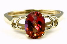 Twilight Fire Topaz, 10KY or 14KY Solid Gold Ladies Ring, R300-Handmade