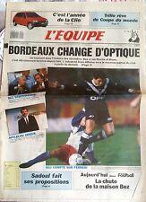 L'Equipe Journal 27/11/1990; l'année Clio/ Trillo rêve/ Bordeaux change d'optiqu