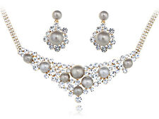 Clear South Sea Faux Pearl Bib New Crystal Element Earring Necklace Set