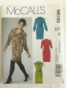 McCall's  M6163 Size 8 10 12 14 16 Misses' Dresses Sash- Close Fit Mock Wrap