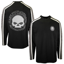 Harley-Davidson Men's Black Grey Skull V-Neck L/S Sweater