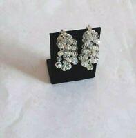 Vintage Aurora Borealis Crystal Cluster Beaded Chandelier Drop Clip On Earrings