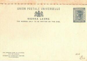 SIERRA LEONE Unused QV Stationery INTACT REPLY CARD HG4 {samwells} PB233